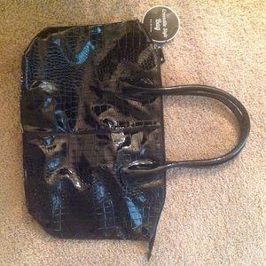 "Handbags - Black Crocodile Style Bag 19.5""x12.5"""